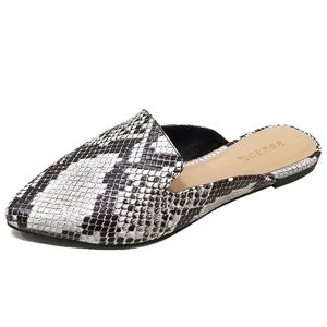 Shoes - New Python Snake Slip On Mule Flats Sandals